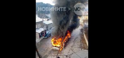 Пожар на автобус на градския транспорт във Велинград