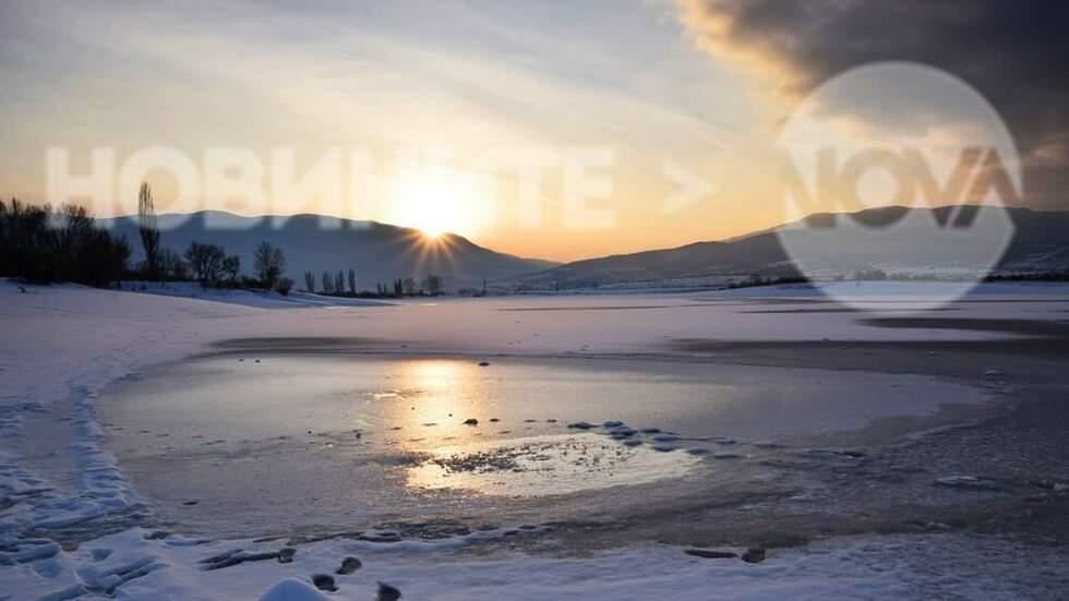 """Приказно красив залез на замръзнал язовир """"Дренов дол"""""""