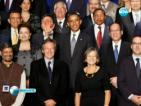 Американският президент закрива лицето на монголския си колега при обща снимка