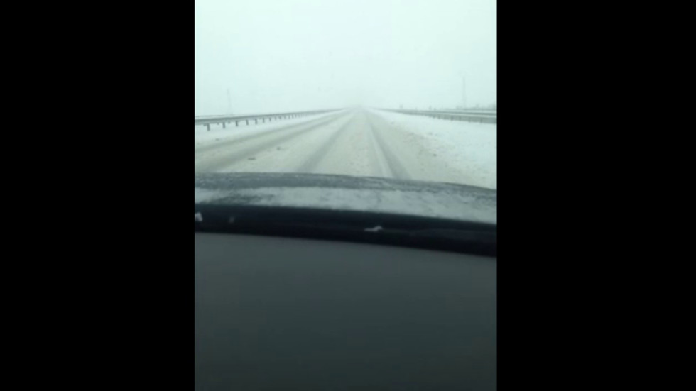 Непочистена магистрала при снеховалежа днес