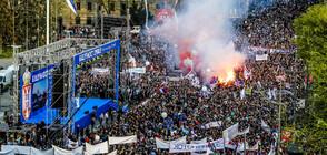 Хиляди на протест в Белград в подкрепа на президента Вучич
