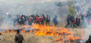 Мигранти подпалват полета в Гърция (СНИМКИ+ВИДЕО)