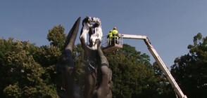 Измиха с шампоан паметника на Съединението в Пловдив