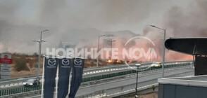Голям пожар пламна до летище София (СНИМКИ)