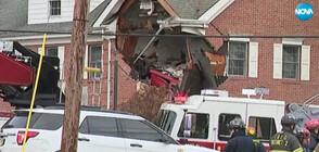 Спортна кола се заби във втория етаж на къща, двама загинаха (ВИДЕО)