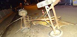 Подплашен кон преобърна каруца в Благоевград, мъж пострада (СНИМКИ)
