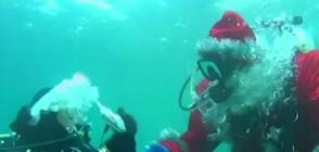 Дядо Мраз се гмурна под вода в езерото Байкал (ВИДЕО)