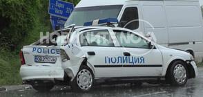 Бус блъсна патрулка на пътя Варна - София (СНИМКИ)