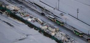 Снежна буря предизвика масова катастрофа на японска магистрала (СНИМКИ)