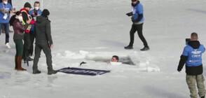 Чех подобри световния рекорд за плуване под лед (ВИДЕО)