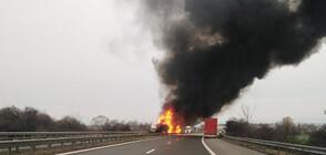 """Катастрофа затвори АМ """"Тракия"""", шофьор изгоря в избухналия пожар (ВИДЕО+СНИМКИ)"""