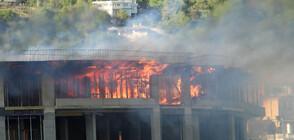 Пожар във висока новострояща се сграда във Варна (ВИДЕО+СНИМКИ)