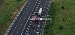 """Тир и кола се удариха на """"Тракия"""", има пострадал (ВИДЕО+СНИМКИ)"""
