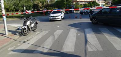 Кола блъсна моторист пред университета в Благоевград (ВИДЕО+СНИМКИ)