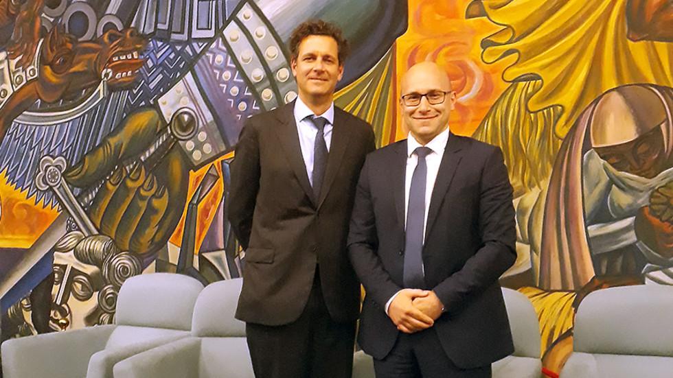 От ляво надясно: Даниел Дрюър, длъжностно лице по защита на данните и ръководител на звеното за защита на данните в Европол; Пламен Славов, DPO на Credissimo