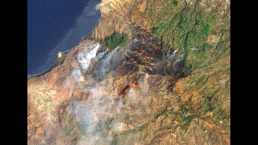 Пожарите на Канарските острови се виждат от Космоса