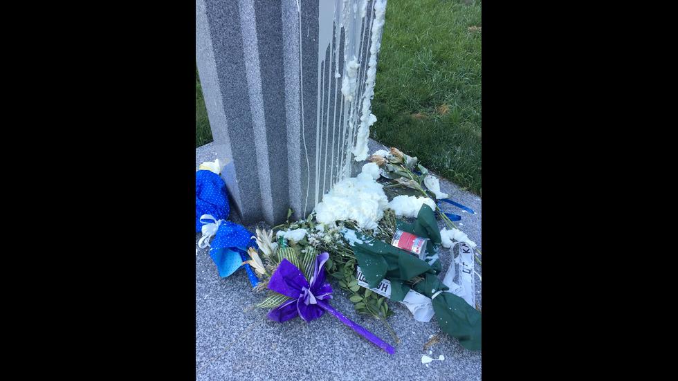 Заляха с блажна боя паметника на Рейгън в София