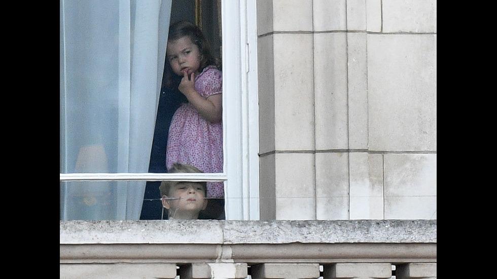 Принцеса Шарлот и принц Джордж на рождения ден на кралица Елизабет II