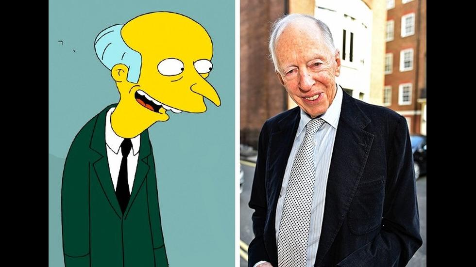 """Мистър Бърнс от """"Семейство Симпсън"""" и барон Джейкъб Ротшилд"""