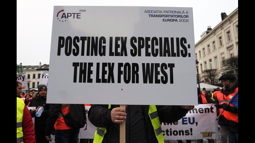 Протест на превозвачите в Брюксел