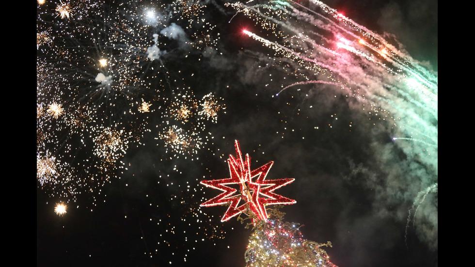 Светна Коледната елха пред НДК
