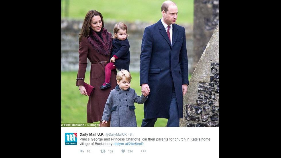 Уилям и Кейт заведоха за първи път децата си на коледна служба