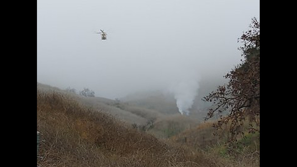 Снимки на разбилия се хеликоптер, който отне живота на Коби Брайънт