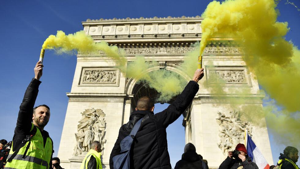 """Сблъсъци на 14-ия протест на """"жълтите жилетки"""" в Париж"""