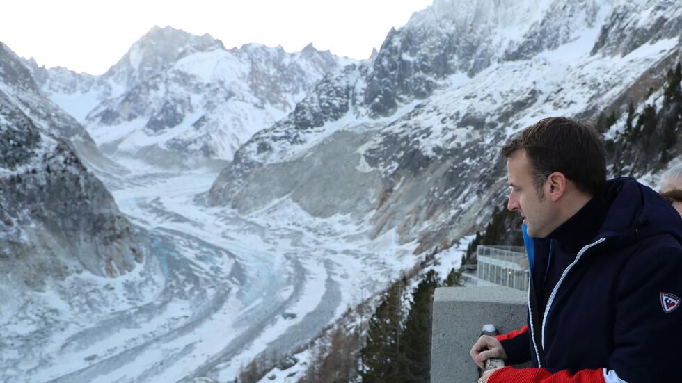 Макрон на спешна обиколка в подножието на Мон Блан
