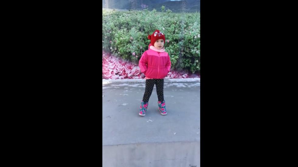 Момиченце на 3 г. пее химна